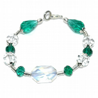 Emerald green and clear crystal bracelet