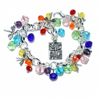 Rainbow dragonfly charm bracelet, made with crystals