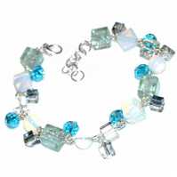Opalite and crackle glass cube bracelet with added crystals