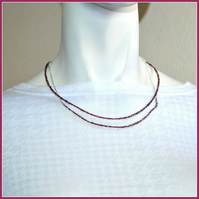 Magnetic two strand necklace with tiny red beads