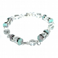 Turquoise and white glass bead bracelet