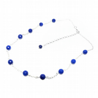 Lapis Lazuli beaded necklace with back drop