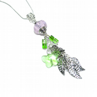 Crystal butterfly and lampwork bead cluster pendant necklace