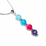 Bright agate gemstone necklace, pink blue and purple natural stone beads