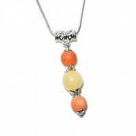 Citrus agate and Jade necklace, natural gemstone beads