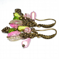 Bronze pine cone earrings with pink and green beads