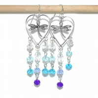 Silver heart chandelier earrings with dragonflies and crystals