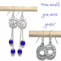 Versatile two way cobalt blue earrings