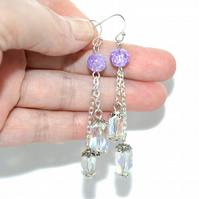 Twinkling purple crystal and glass earrings