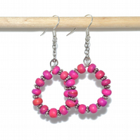 Small pink wood hoop gypsy earrings