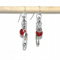 Safety Pin charm cluster earrings with blood red sea glass