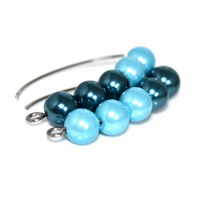 Magnetic dangle hoop hook earrings in sky and mid blue