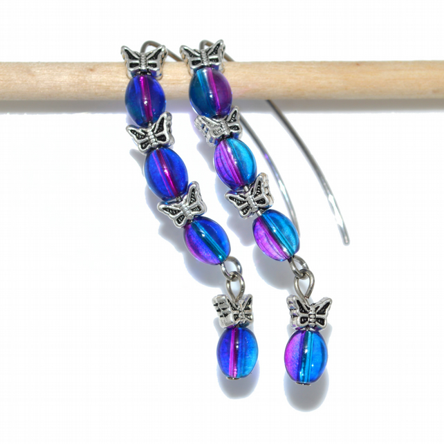Butterfly dangle hoop hook earrings in blue and pink