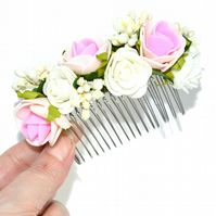 White and pink foam roses hair comb, wedding hair accessory for bride