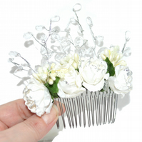 White paper flower and crystal hair comb, wedding hair accessory for bride
