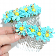Pack of two turquoise paper flower and crystal hair combs