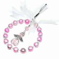 Small beaded angel hoop in pink, glass bead xmas decoration
