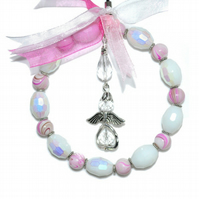Beaded guardian angel hoop in pink and white, pink suncatcher