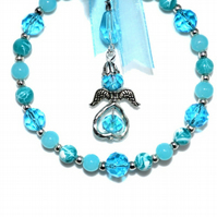 Blue beaded guardian angel hoop suncatcher, glass bead decoration