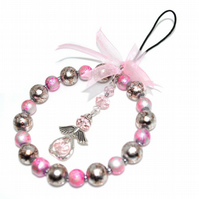 Pink and beige beaded angel hoop, glass bead xmas decoration