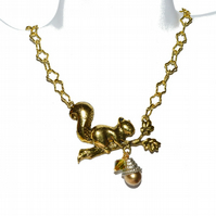 Squirrel necklace, woodland critter goldtone necklace