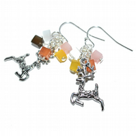 Pastel cube and Christmas reindeer earrings