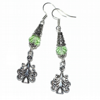Green crystal and Christmas tree earrings