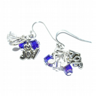 Crystal cube and Christmas joy earrings