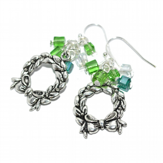 Green glass and Christmas wreath earrings