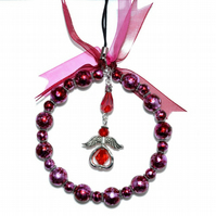 Beaded Christmas angel hoop in red and pink, glass bead xmas decoration