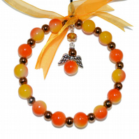 Christmas angel hoop in with bronze and orange beads, glass bead xmas decoration