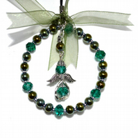 Small beaded angel hoop in shades of green, glass bead xmas decoration
