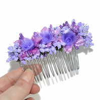 Lilac purple wedding bride hair comb, artificial floral hair accessory
