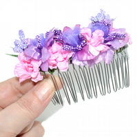 Lilac and pink netting floral bride hair comb