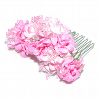 Soft  pink wedding bride hair comb, pink paper hair accessory