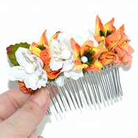 Autumn wedding bride hair comb, floral hair accessory