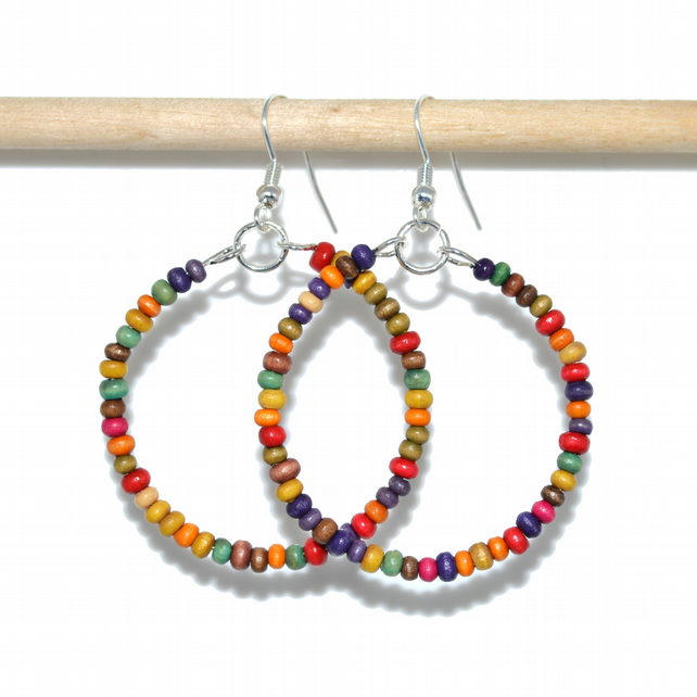 Wooden rainbow hoop earrings