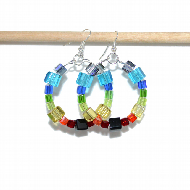 Rainbow crystal cube hoop earrings