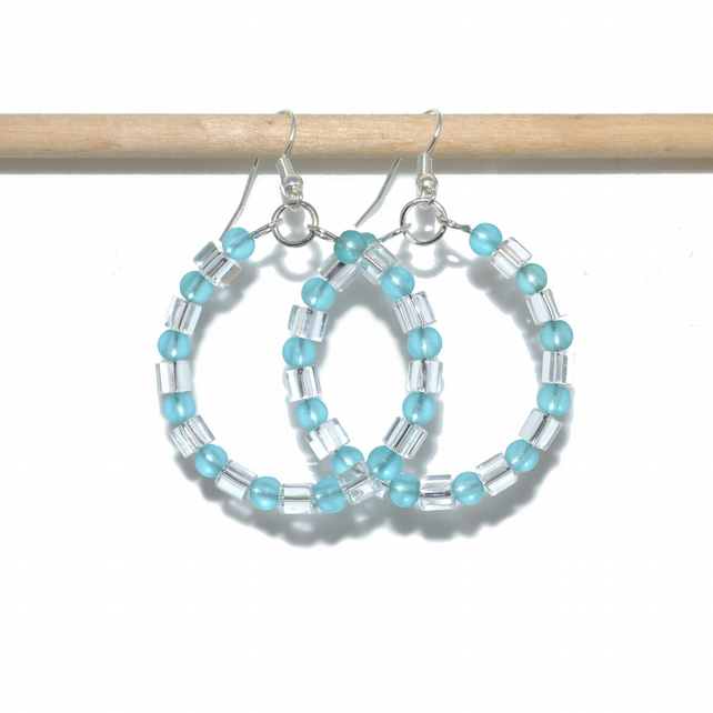 Blue crystal cube hoop earrings with frosted sea glass