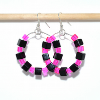 Hot Pink and black crystal cube hoop earrings
