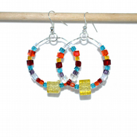 Colourful crystal cube hoop earrings