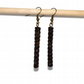 Wood bead dangle drop earrings