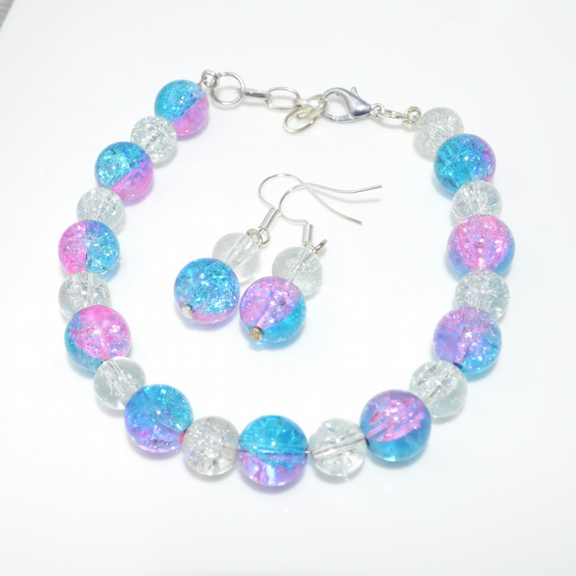 Glass beaded bracelet and earrings set - pink and blue