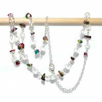 Frosted and painted glass beaded necklace, rainbow hues and sea glass