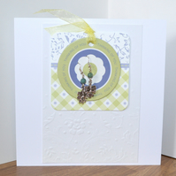 Large blank card with Green Man earrings - 7 inches square