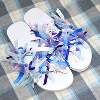 Medium ribbon tied flip flops in pink purple and blue