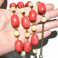 Heavy Jade and Howlite bronze and copper necklace