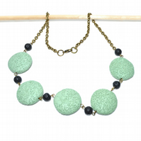 Black and Mint green lava rock bronze necklace