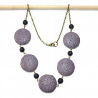 Black and Purple lava rock bronze necklace