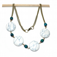 White Howlite and Chrysocola bronze necklace